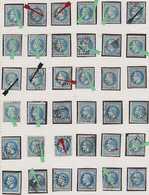 N°29 Ensemble De 36 Variétés Filets Bleus Foncés Et Dégradés Ou Autres, Rare Ensemble, Très Intéressant, TB - 1863-1870 Napoléon III. Laure