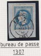 N°29 Cachet à Date Du Bureau De Passe 1307 Dijon Sur Fragment, TB, Pas Courant. - 1863-1870 Napoléon III. Laure