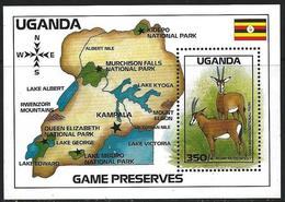 Uganda 1988 Scott 641 MNH Sheet National Park, Map, Animal - Uganda (1962-...)