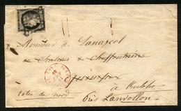 France N° 3 S/Lettre Obl. Grille + Càd ROUGE Bureau Central 11 Août 49 - Signé - 1849-1850 Cérès