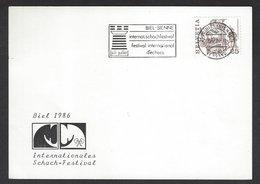 Chess, Switzerland Biel, July 1986, Special Roller Cancel & Cachet On Card, Chess Festival - Schaken