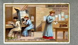 CHROMO Guerin-Boutron Usine Fabrication Allumettes Empaquetage Pesage Timbre Matches Factory Minot Victorian Trade Card - Guérin-Boutron