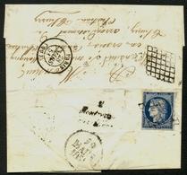 """France N° 4a Obl. Grille + Cursive + Dateur A (rare) """"29 Mars 1851"""" - Signé Calves - 1849-1850 Cérès"""