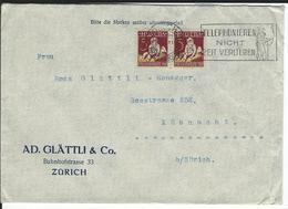 SBK 2xJ41, Mi 2x222 Zürich 1 - Briefe U. Dokumente