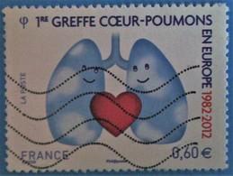 France 2012  : Santé, 20e Anniversaire De La 1er Greffe Coeur-poumons En Europe N° 4674 Oblitéré - France