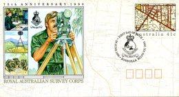 AUSTRALIE. Entier Postal Avec Oblitération 1er Jour De 1990.  Royal Australian Survey Corps/Topographie. - Geography