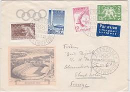 OLYMPIC GAMES 1952 STADION HELSINKI FINLAND 1951 MI 399 - 402 COVER POSTMARK - Summer 1952: Helsinki
