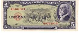 Cuba P.91c  5  Pesos 1960 Unc - Cuba