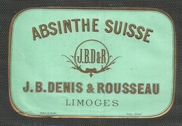 Etiquette : Absinthe Suisse -  J B Denis & Rousseau Limoges - 11,5 / 7,5 Cm - Etiquettes