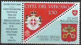 2008 Vatikan Mi. 1622 + Malteser**   Unterzeichnung Einer Postkonvention Zwischen Dem Malteserorden Und Der Vatikanstadt - Emissions Communes