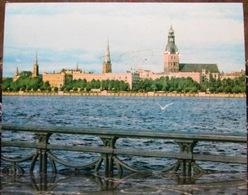 Riga Latvia Komsomolskaya Embankment. The River Daugava. USSR Postcard - Latvia