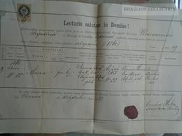 ZA155.12 Baptismal Certificate - KVACSAN Kvačany -Zilina - 1883 -Slovakia - Naissance & Baptême