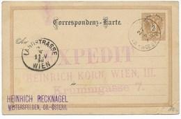 GANZSACHE  -  WEITERSFELDEN  NACH  WIEN   1890 - Briefe U. Dokumente