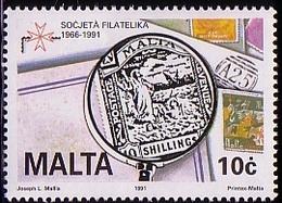 Malta 1991 Mi 853 Stamps On The Stamps, Malta 52 In Loupe Unused MHN** W831 - Malte