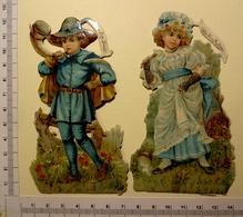 2 CHROMOS DECOUPIS ..PERSONNAGES COMPTINES POUR ENFANTS....MISS MUFFET.....LITTLE BOY BLUE - Enfants