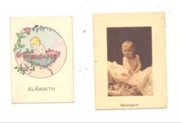 Lot De 2 Souvenirs De Baptème - Famille GULPENNE Elisabeth 1936 Et Monique 1940 - VERVIERS (b244) - Naissance & Baptême