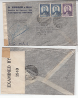 Uruguay Airmail Cover To USA, Stamp,  WW II Censorship  (A-1045) - Uruguay