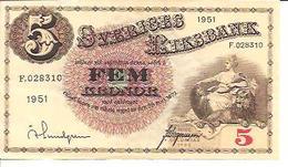Sweden  5 Kronor  1951 - Suède