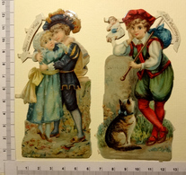 2 CHROMOS DECOUPIS ..PERSONNAGES COMPTINES POUR ENFANTS....BABES IN THE WOOD.....DICK WHITINGTON - Enfants