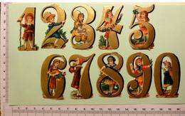 10 CHROMOS DECOUPIS ....H..5.5 Cm......CHIFFRES DORES AVEC ENFANTS.....COLL.COMPLETE - Victorian Die-cuts