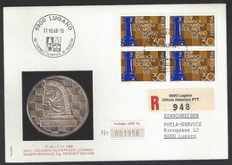 Chess, Switzerland Lugano, 17.10.1968, Rare Silver Medal & Special Cancel On Limited Edition Card, 18th Chess Olympiad - Schaken