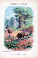 Fables De La Fontaine - Illustration D'après Gustave Doré  Le Lion  Lievre Et La Tortue - Vieux Papiers