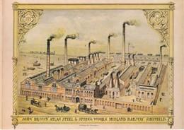 Yorkshire;John Brown Atlas Steel & Spring Works Midland Railway Sheffield. Colour Postcard - Sheffield