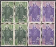 SPANIEN  1565-1566, Postfrisch **, Mint,  4erBlock, Europa CEPT: Hl. Benedikt, Schutzpatron Europas 1965 - 1961-70 Unused Stamps