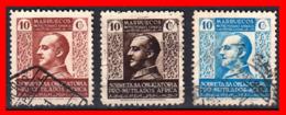ESPAÑA 3 SELLOS PRO MUTILADOS DE GUERRA AÑO 1937-39 - Marruecos Español
