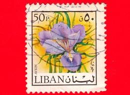 LIBANO - Usato - 1973 - Fiori - Iris - 50 - P. Aerea - Libano
