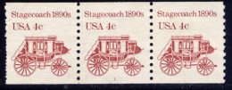 UNITED STATES,  PLATE STRIP OF 3, NO. 1898A, MNG - United States