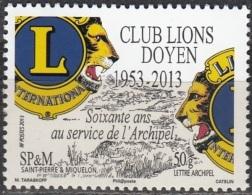 Saint-Pierre & Miquelon 2013 Yvert 1088 Neuf ** Cote (2015) 1.00 Euro 60 Ans Club Lions Doyen - Neufs