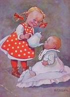 Cpa Illustrateur B.RZEGKA BEBE & PETITE FILLE , Façon Originale De BOIRE DU CHOCOLAT , BABY DRINKING CHOCOLATE COMIC A/s - Humorvolle Karten