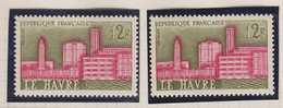 N°1252 Le Havre Deux Exemplaires Avec Belle Variété, TB. - France