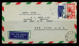 ITALIA REPUBBLICA Storia Postale 1952 Lettera Da Lavis Trento A New York  In Tariffa Affr. Con 60 Lire Icao + 60 Lavoro - 6. 1946-.. Repubblica