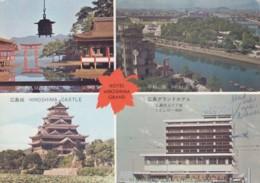 Hiroshima Japan, Grand Hotel, Peace Park, Hiroshima Castle, Miyajima, C1970s Vintage Postcard - Hiroshima