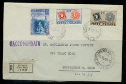 Storia Postale 1951 Lettera Da Ancona A Youngstown OHIO In Tariffa Affr. Con 55 Toscana + 60 + 10 Lire C Francob. Sardo - 6. 1946-.. Repubblica