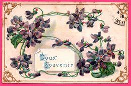 Carte Gaufrée - Doux Souvenir - Fleur - Violette - Edit. K.F. - 1916 - Blumen