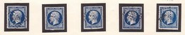 N°14Aa Ou N°14Ab 5 Très Beaux Exemplaires Avec Belles Marges Et Superbe Nuances, TTB - 1853-1860 Napoléon III