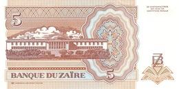 ZAIRE P. 53a 5 Z 1993 UNC - Zaïre