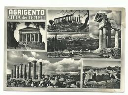 CARTOLINA POSTALE AGRIGENTO TEMPLI VG 1957 PIEGA CENTRALE - Agrigento