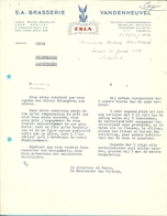 BRASSERIE VANDENHEUVEL / EKLA /  BRUXELLES 1956 (F721) - Belgique