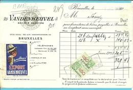 BRASSERIE VANDENHEUVEL ST-MICHEL BRUXELLES 1935 + Vignet EXPORT  !!!  (F565) - Belgique