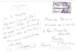 ANDORRE La VIEILLE Lettre Carte Postale  20 F Violet Croix Gothique Ob Meca 1960 Yv  148 - Lettres & Documents