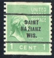 "USA Precancel Vorausentwertung Preo, Locals ""SAINT NAZIANZ"" (WIS). - Stati Uniti"