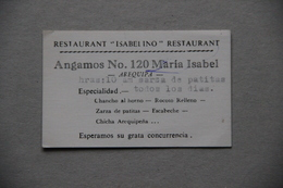 Carte Restaurant Isabelino à Arequipa (Pérou) - Factures & Documents Commerciaux