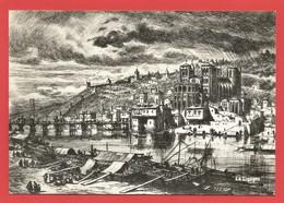 """C.P.S.M.(69)  """" LYON DU PASSE """"   Le Pont De Bois De Bellecour Et Le Cloître Saint Jean En 1634  X 2 Photos - Otros"""