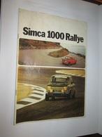 Brochure Publicitaire Catalogue  SIMCA  1000 RALLYE  1 ET  2 - Auto/Moto