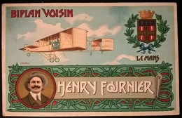 BIPLANO VOISIN PILOTA HENRY FOURNIER - Aviatori