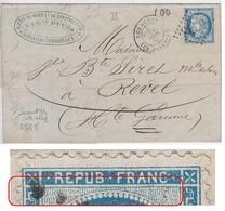 N°60B Sur Lettre, Superbe Variété Suarnet 34, Position 25G5, Grande Griffe Banche Dans L'imbriquement, TB - 1871-1875 Cérès